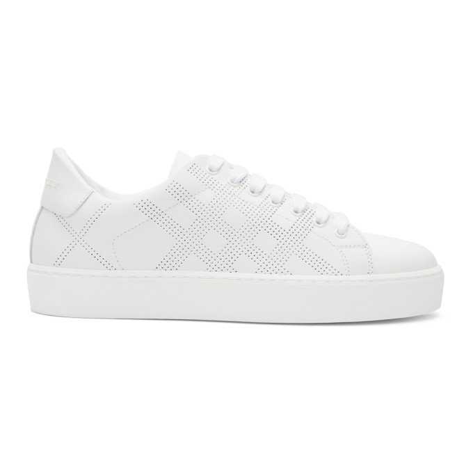 Burberry White Leather Perforated Sneakers