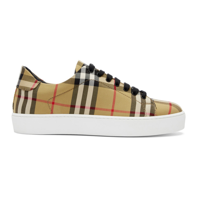 Westford Vintage Check Sneakers In Beige Leather in Antique Yel