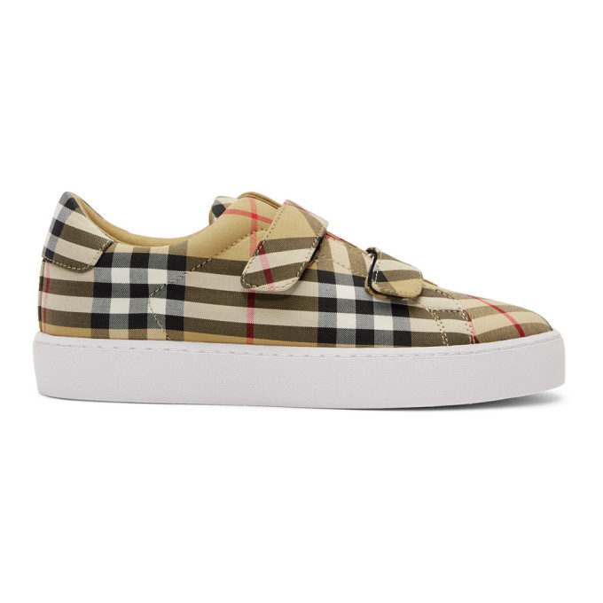 Image of Burberry Beige Alexandra Check Sneakers