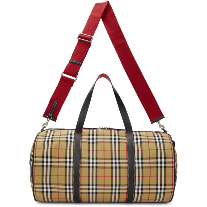 Burberry Beige Large Kennedy Duffle Bag