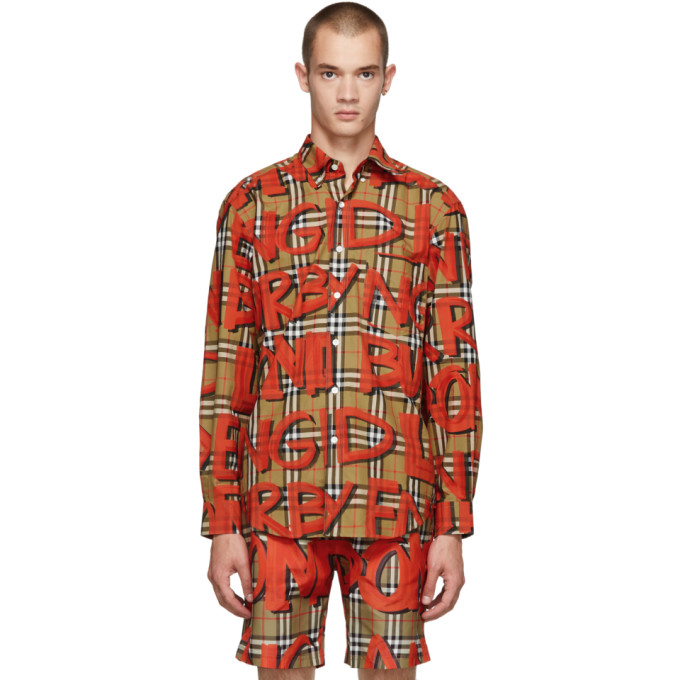 Image of Burberry Beige All Over Logo Check Jameson Shirt