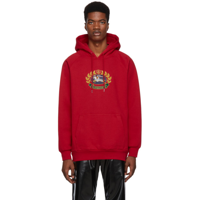 BURBERRY | Burberry Red Embroidered Archive Logo Hoodie | Goxip