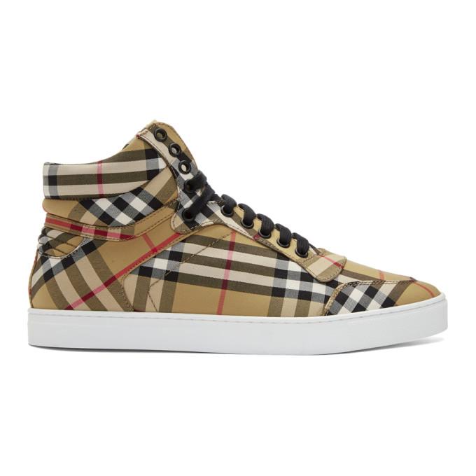 Burberry Black & Beige Reeth High-Top Sneakers