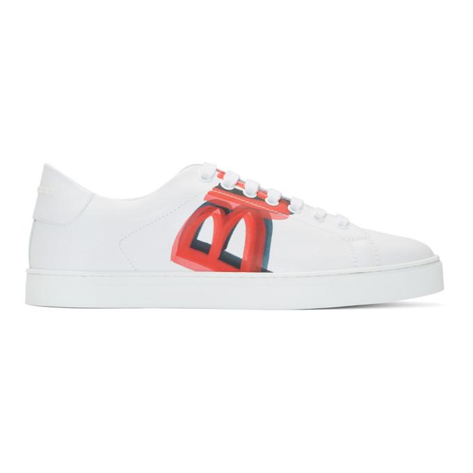 Burberry White & Red Albert Sneakers