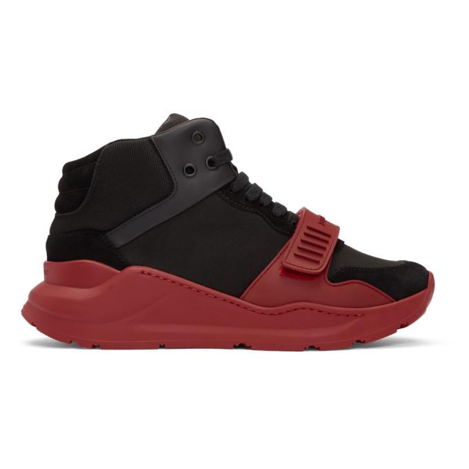 Burberry Black & Red Regis High-Top Sneakers