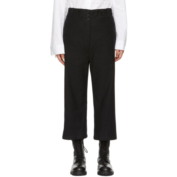 Ann Demeulemeester Black Milton Trousers in Off Black