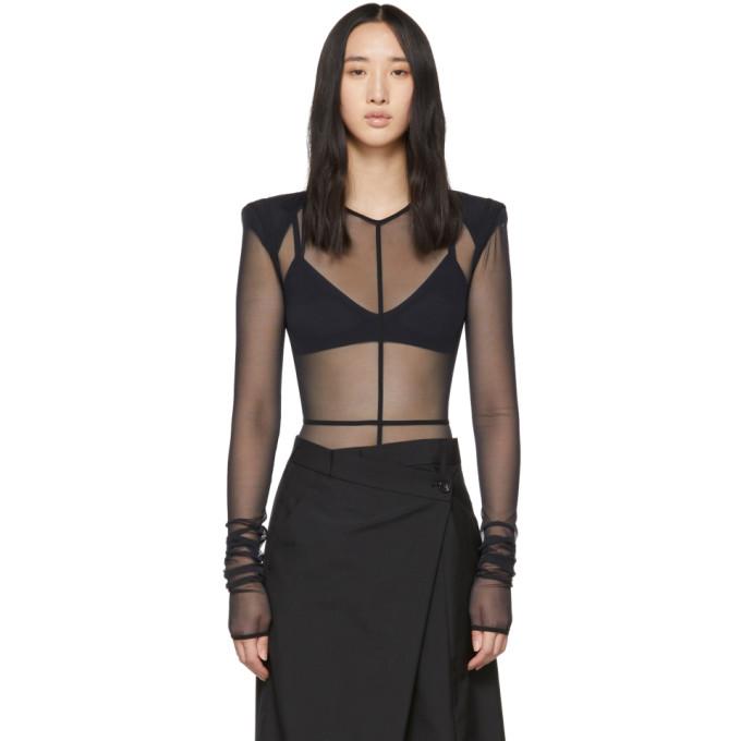 ANN DEMEULEMEESTER Ann Demeulemeester Black La Fille Do Edition Soft Tulle Constructed Bodysuit