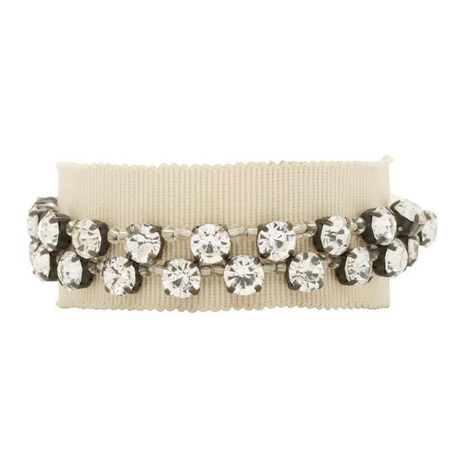 Image of Ann Demeulemeester Beige Stone Glass & Beads Bracelet