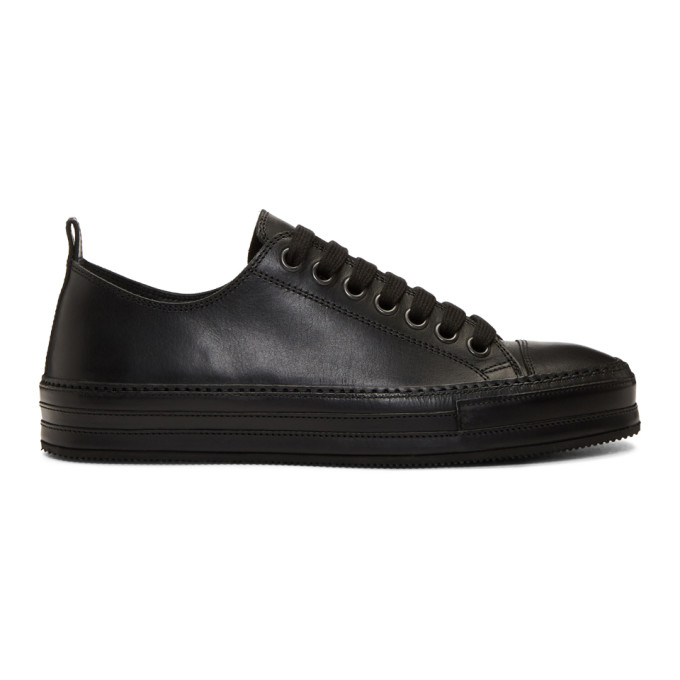 Ann Demeulemeester Black Leather Oil Sneakers