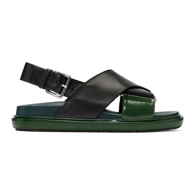 Marni Black & Green Fussbett Sandals