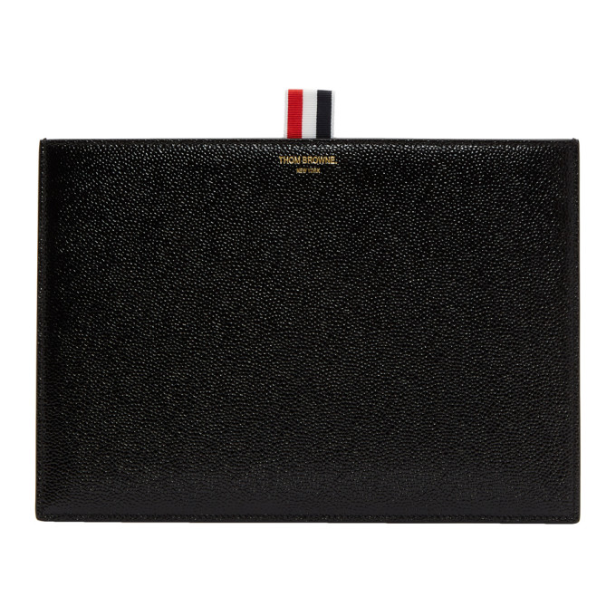Thom Browne Black Leather Pouch