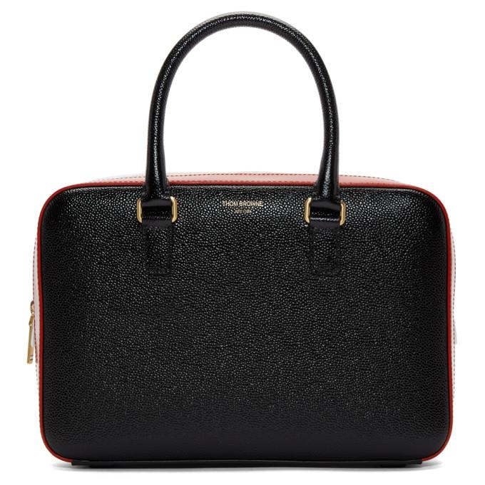 Thom Browne Black Junior Tricolor Business Duffle Bag in 001 Black