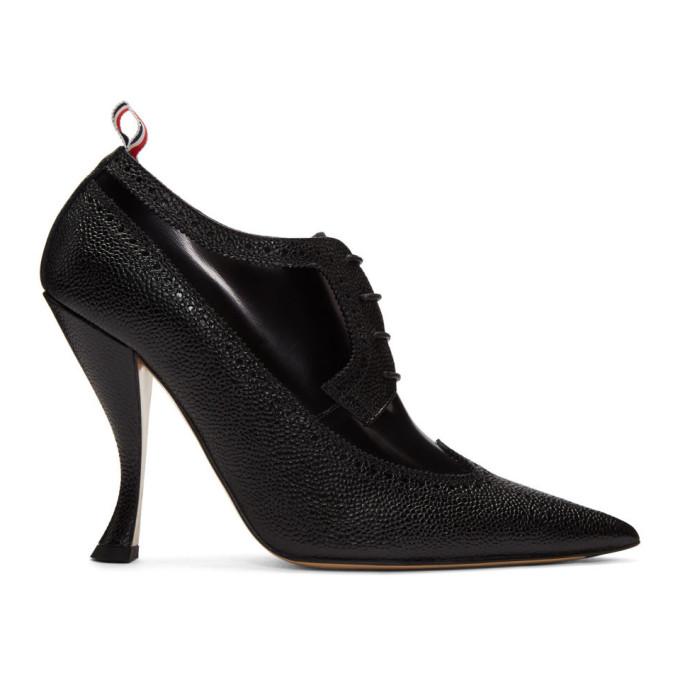 Thom Browne Black Longwing Brogue Curved Heels