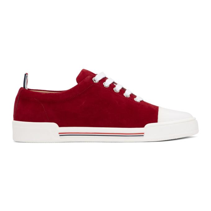 Thom Browne Red Toe Cap Trainer Sneakers