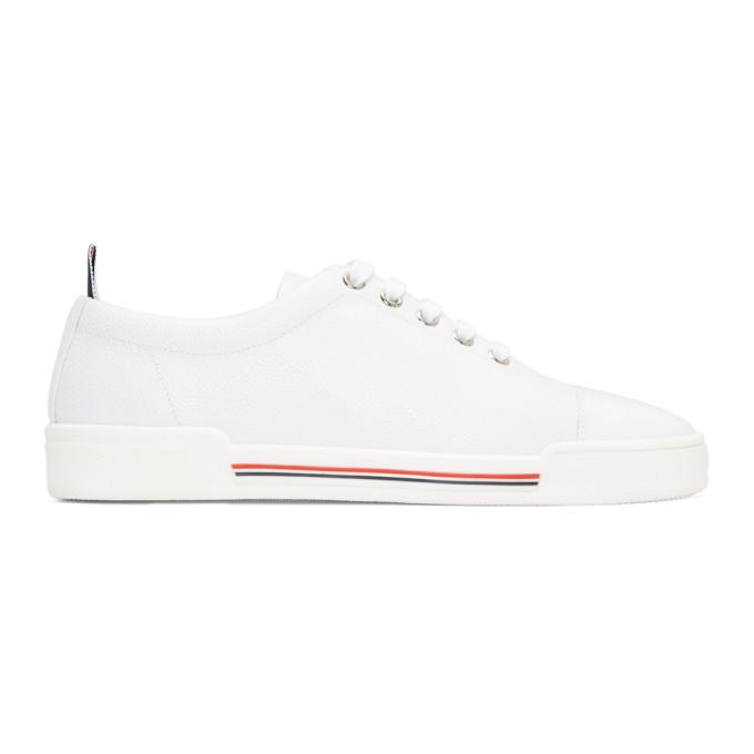 Thom Browne White Four Bar Toe Cap Sneakers