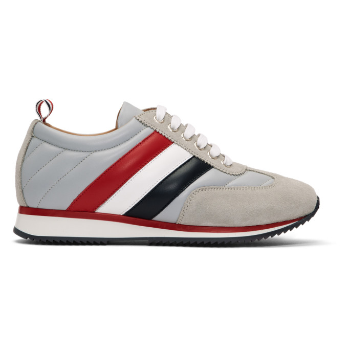 Thom Browne Grey Tricolor Stripe Quilted Running Sneakers