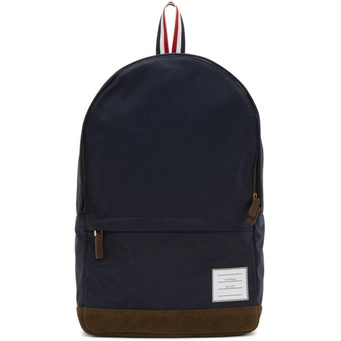 Thom Browne Navy Unstructured Nylon Backpack