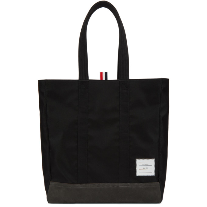 Thom Browne Black Unstructured Nylon Tote