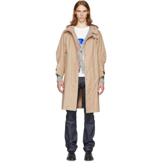 Image of Thom Browne Beige Articulated Bal Collar Hooded Coat