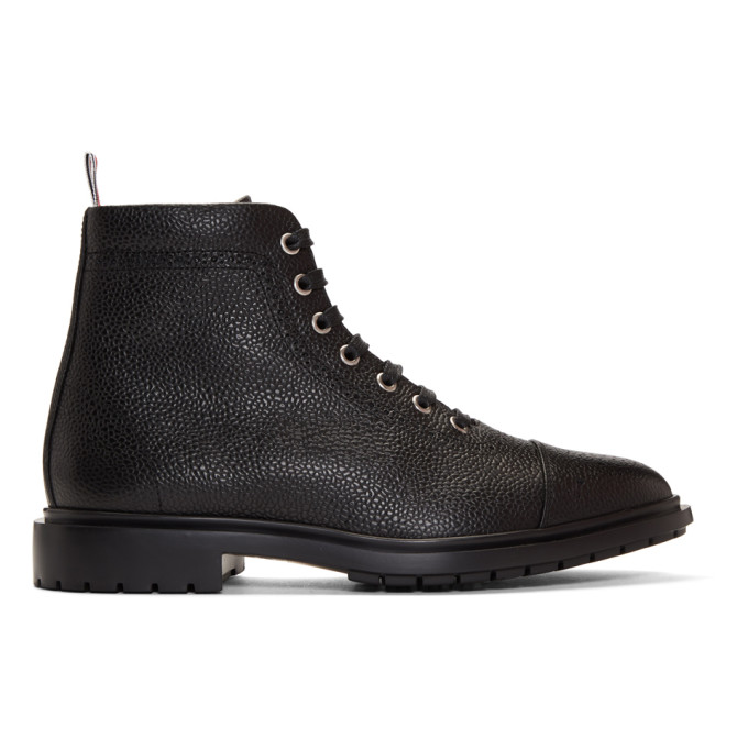 Thom Browne Black Toe Cap Lace-Up Boots