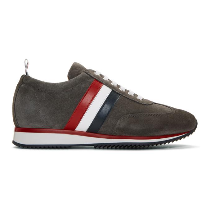 Thom Browne Grey Suede Stripe Sneakers