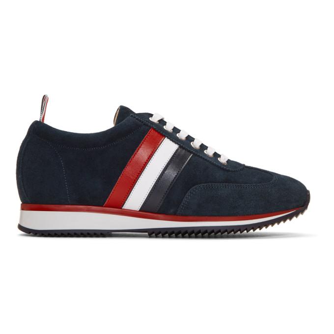 Thom Browne Navy Suede Sneakers