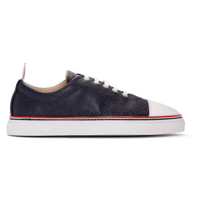 Thom Browne Navy Straight Toe Cap Sneakers