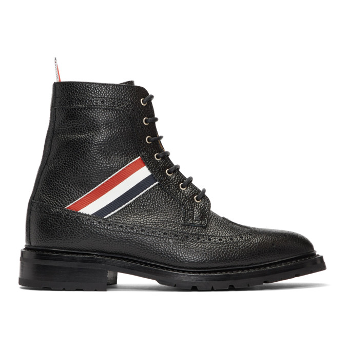 Thom Browne Black Longwing Brogues Boots