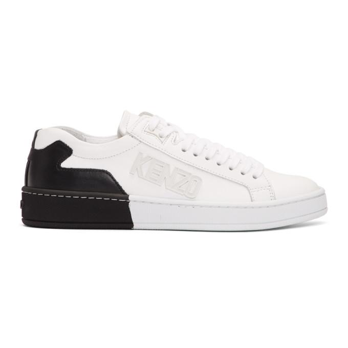 Kenzo White & Black Contrast Tennix Sneakers