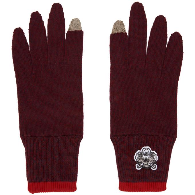 e11f65e4357ca8 Kenzo Burgundy Tiger Crest Gloves