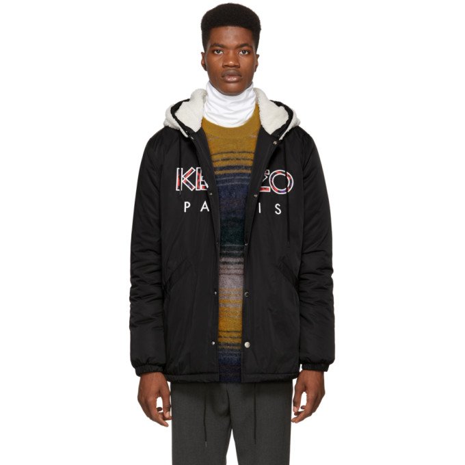 31b7261c60 Kenzo Hooded Camo Logo Patches Nylon Jacket In 99 Black ...