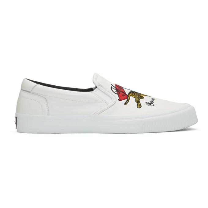 Kenzo White K-Skate Slip-On Sneakers