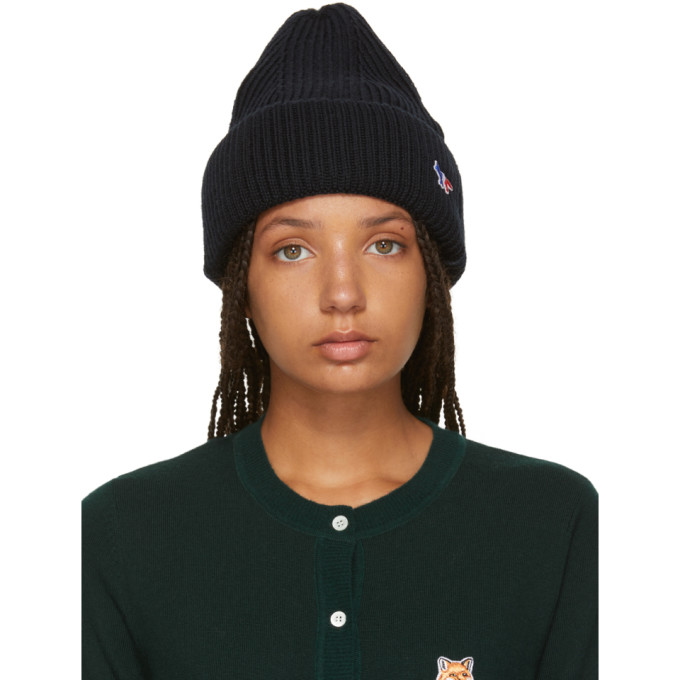 Image of Maison Kitsuné Black Tricolor Fox Ribbed Beanie