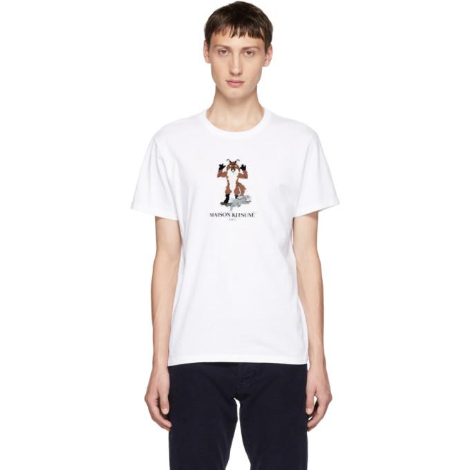 Maison Kitsuné ホワイト ピクセル フォックス T シャツ
