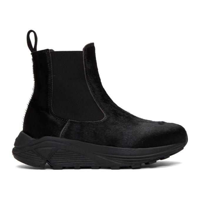 Diemme Black Calf-Hair Verona Chelsea Boots, Black Suede