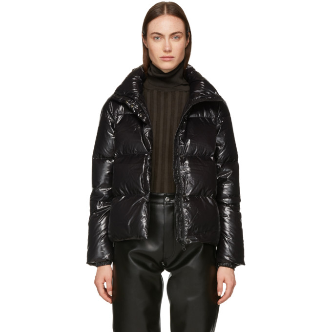 Funnel Neck Puffer Jacket in Black