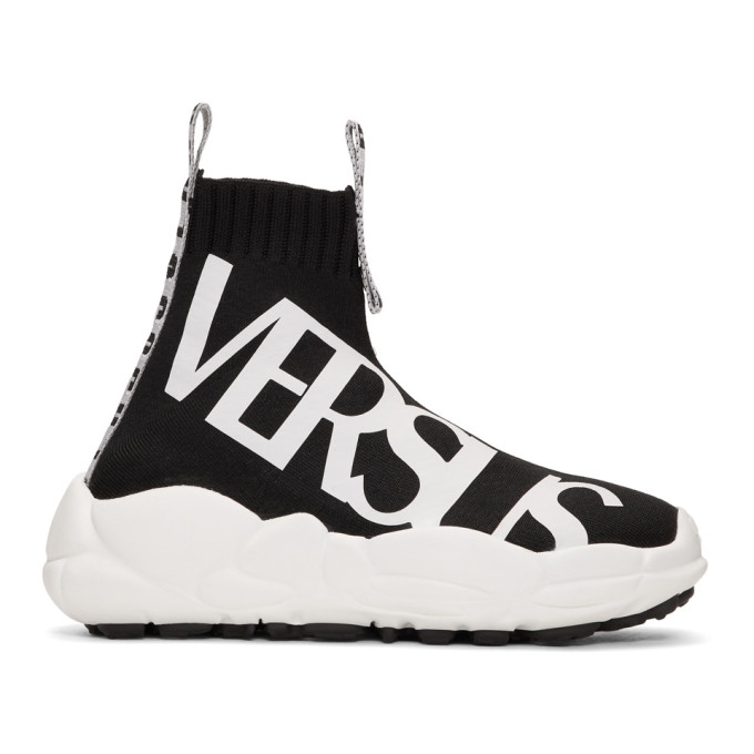 Versus Black Logo Ribbons Sock Sneakers