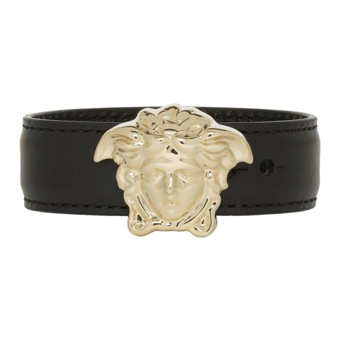 Versace Black & Gold Leather Medusa Bracelet