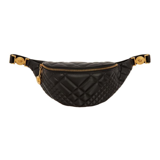 Versace ブラック キルト メドゥーサ ベルト バッグ