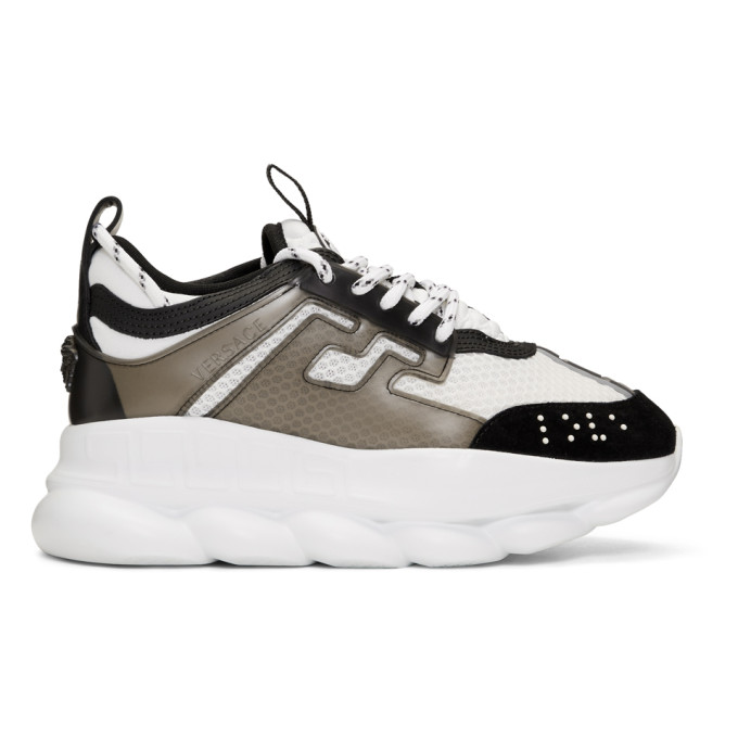 Versace White & Black Mesh Chain Reaction Sneakers