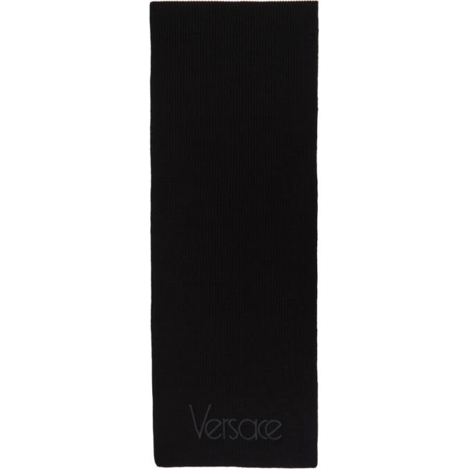 Versace ブラック シン ロゴ マフラー