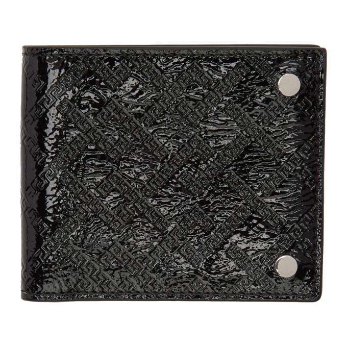 9cabb5b56768 Versace Black Patent Greek Embossed Bifold Wallet
