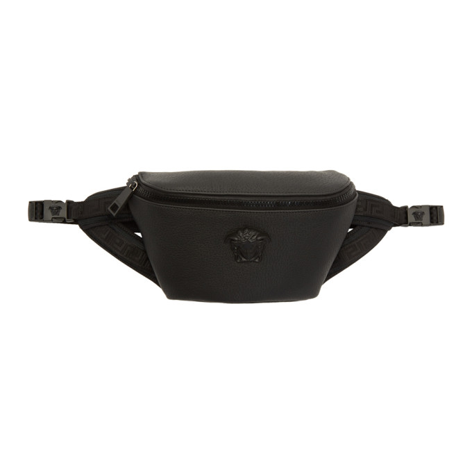 VERSACE Black Leather Medusa Belt Bag