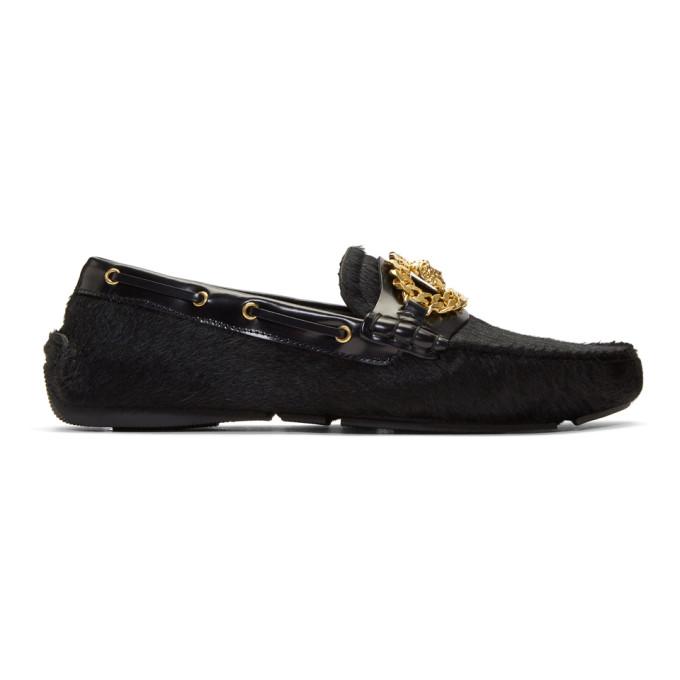 Versace Black Calf Hair Tribute Medusa Driver Loafers