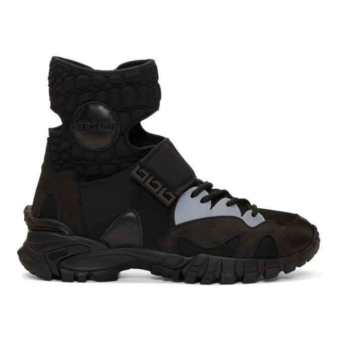 Versace Black Hybrid High-Top Sneakers
