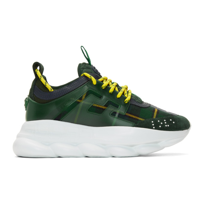 Versace Green & Yellow Plaid Chain Sneakers