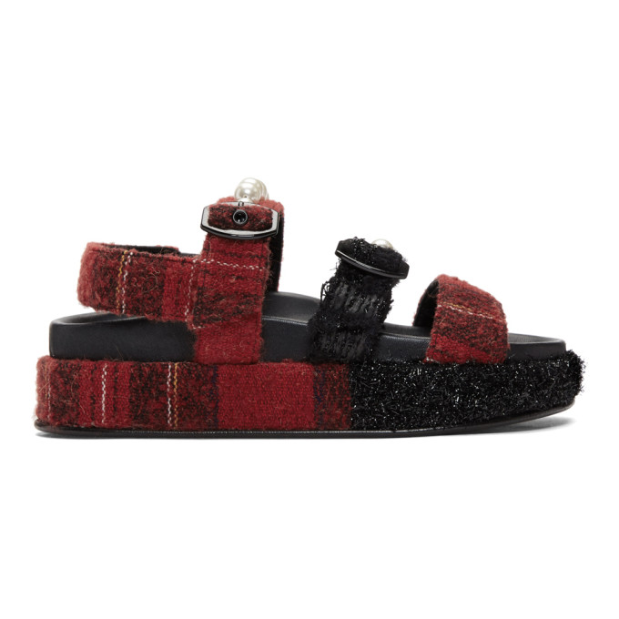 Simone Rocha Red Tartan Sandals