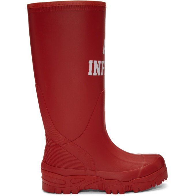 Undercover Red 'We Are Infinite' Rain Boots