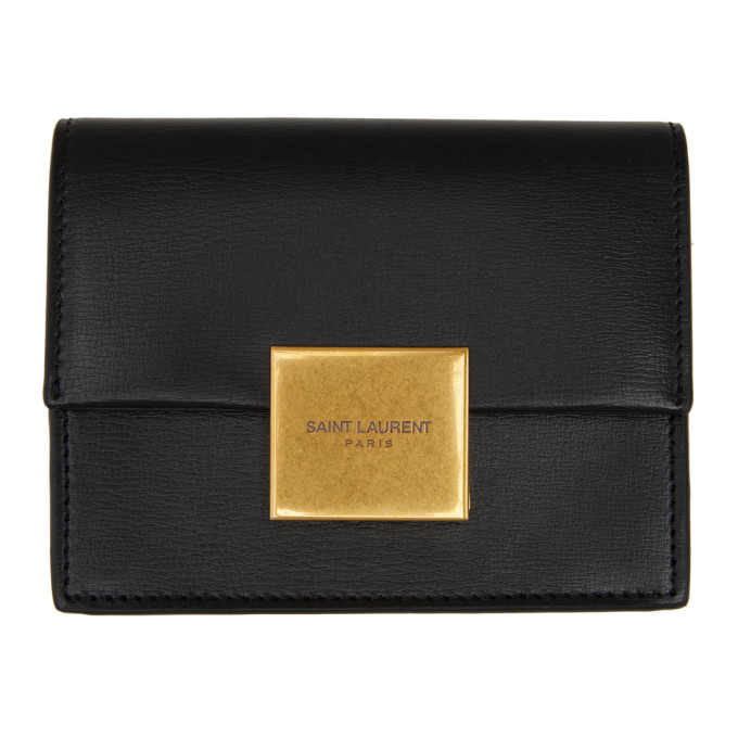 SAINT LAURENT BLACK BELLECHASSE BUSINESS CARD CASE