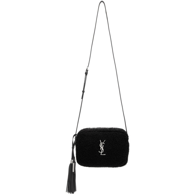 Image of Saint Laurent Black Lou Shearling Camera Bag